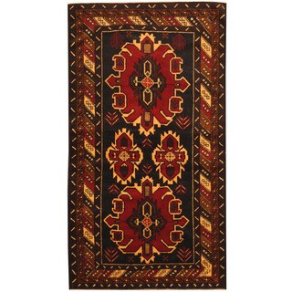 Herat Oriental Afghan Hand-knotted 1980s Semi-antique Tribal Balouchi Wool Rug (3'7 x 6'7)