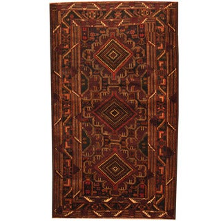 Herat Oriental Afghan Hand-knotted 1980s Semi-antique Tribal Balouchi Wool Rug (3'10 x 6'6)
