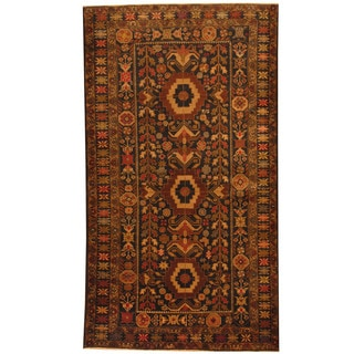 Herat Oriental Afghan Hand-knotted 1980s Semi-antique Tribal Balouchi Wool Rug (3'9 x 6'10)