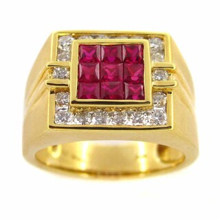 Kabella 18k Yellow Gold Ruby Andith Diamond Men's Accent Ring