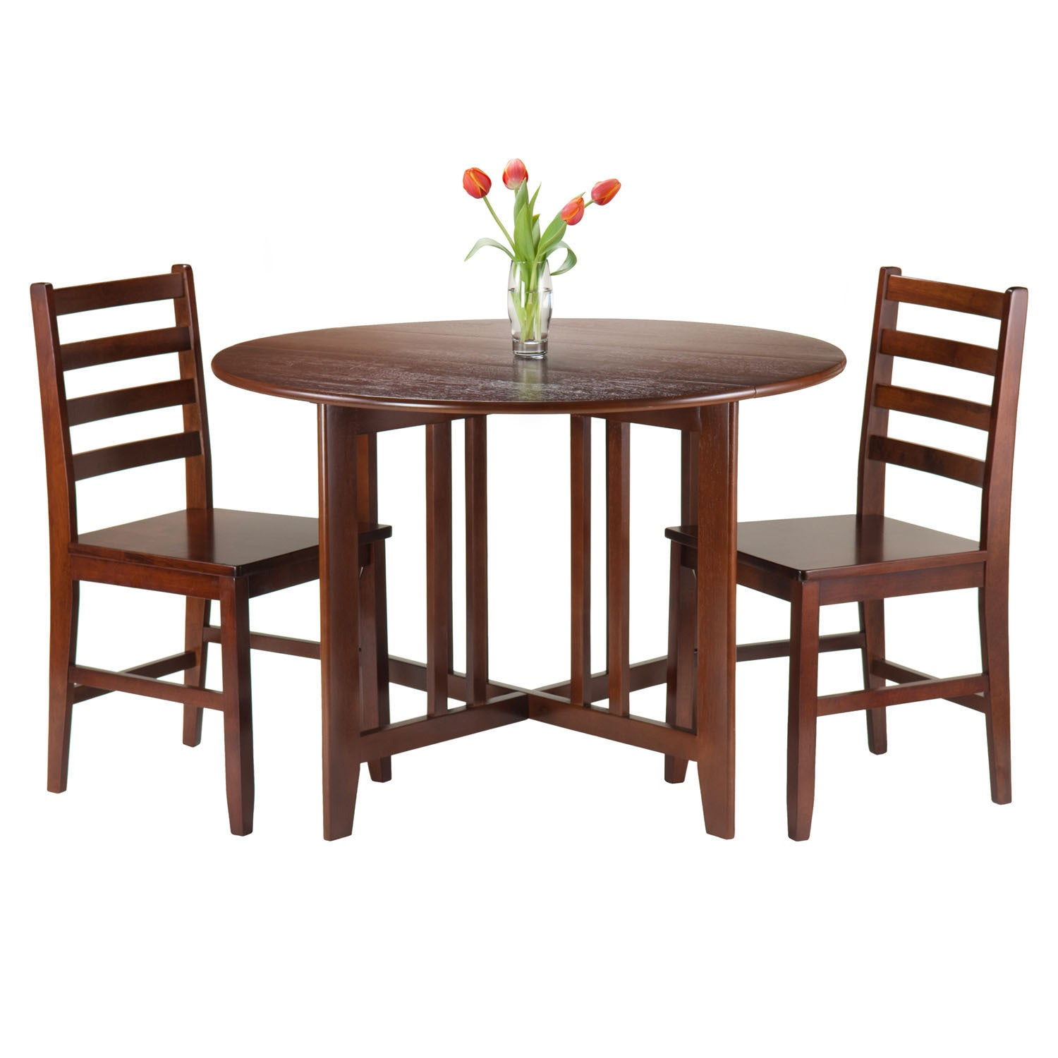 Winsome Brown Wood 3-piece Alamo Round Drop-leaf Table wi...