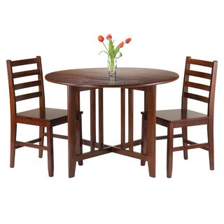 Winsome Brown Wood 3-piece Alamo Round Drop-leaf Table with 2 Hamilton Ladder-back Chairs