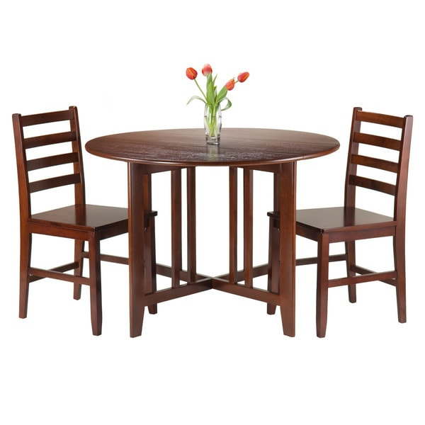 Superieur Winsome Brown Wood 3 Piece Alamo Round Drop Leaf Table With 2 Hamilton  Ladder