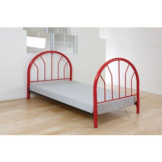 Silhouette Red Metal Twin Headboard and Footboard