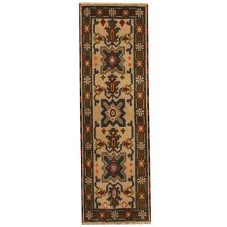 Herat Oriental Indo Hand-knotted Tribal Kazak Beige/ Olive Wool Runner (2'1 x 6'7)