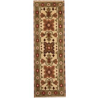 Herat Oriental Indo Hand-knotted Tribal Kazak Ivory/ Olive Wool Runner (2'1 x 6'5)