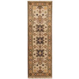 Herat Oriental Indo Hand-knotted Tribal Kazak Ivory/ Tan Wool Runner (2'2 x 6'9)