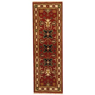 Herat Oriental Indo Hand-knotted Tribal Kazak Rust/ Ivory Wool Runner (2'2 x 6'6)