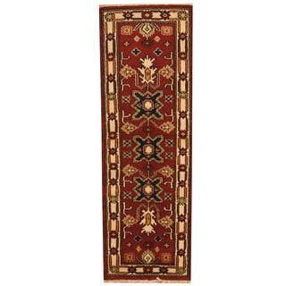 Herat Oriental Indo Hand-knotted Tribal Kazak Rust/ Ivory Wool Runner (2'1 x 6'5)