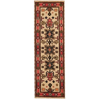 Herat Oriental Indo Hand-knotted Tribal Kazak Ivory/ Rose Wool Runner (2'2 x 6'10)