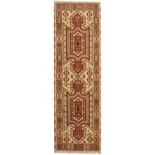 Herat Oriental Indo Hand-knotted Tribal Kazak Ivory/ Green Wool Runner (2'1 x 6'9)