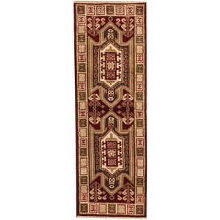 Herat Oriental Indo Hand-knotted Tribal Kazak Red/ Ivory Wool Runner (2'2 x 6'5)