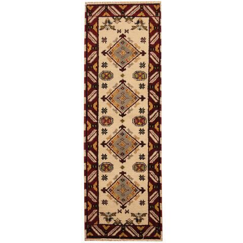 Handmade One-of-a-Kind Kazak Wool Runner (India) - 2'2 x 6'8