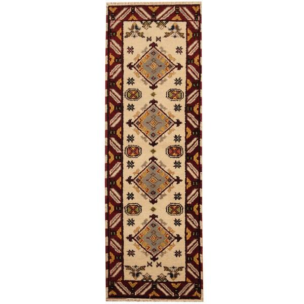 Handmade Herat Oriental Indo Tribal Kazak Wool Runner (India)