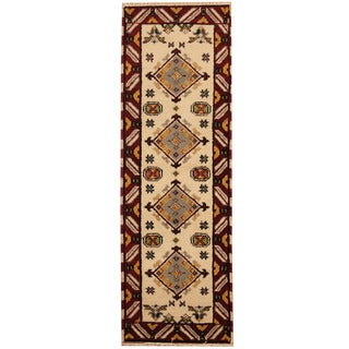 Herat Oriental Indo Hand-knotted Tribal Kazak Ivory/ Red Wool Runner (2'2 x 6'8)