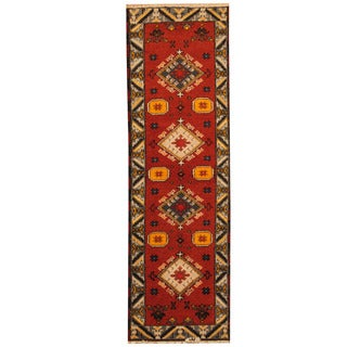 Herat Oriental Indo Hand-knotted Tribal Kazak Rust/ Gray Wool Runner (2' x 6'7)