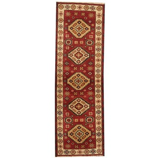 Herat Oriental Indo Hand-knotted Tribal Kazak Red/ Navy Wool Runner (2'1 x 6'7)