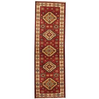 Herat Oriental Indo Hand-knotted Tribal Kazak Red/ Navy Wool Runner (2'1 x 6'7)
