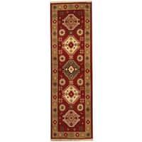 Handmade Herat Oriental Indo Tribal Kazak Wool Runner (India) - 2' x 6'6