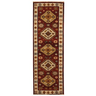 Herat Oriental Indo Hand-knotted Tribal Kazak Brown/ Ivory Wool Runner (2'2 x 6'7)