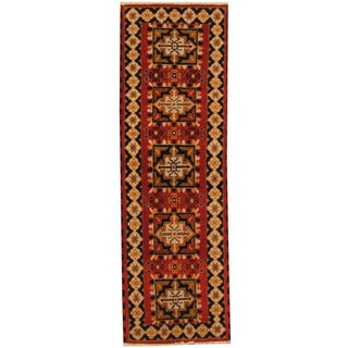 Herat Oriental Indo Hand-knotted Tribal Kazak Red/ Ivory Wool Runner (2'1 x 6'5)