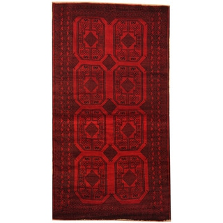 Herat Oriental Afghan Hand-knotted 1980s Semi-antique Tribal Balouchi Wool Rug (3'5 x 6'4)