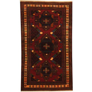 Herat Oriental Afghan Hand-knotted 1980s Semi-antique Tribal Balouchi Wool Rug (3'5 x 6'1)