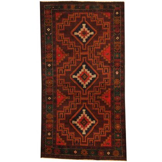 Herat Oriental Afghan Hand-knotted 1980s Semi-antique Tribal Balouchi Wool Rug (3'6 x 6'8)