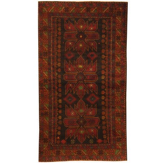 Herat Oriental Afghan Hand-knotted 1980s Semi-antique Tribal Balouchi Wool Rug (3'5 x 6')