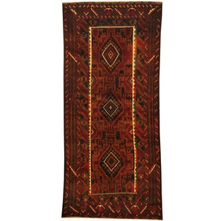 Herat Oriental Afghan Hand-knotted 1980s Semi-antique Tribal Balouchi Red/ Ivory Wool Rug (3'4 x 7'5)