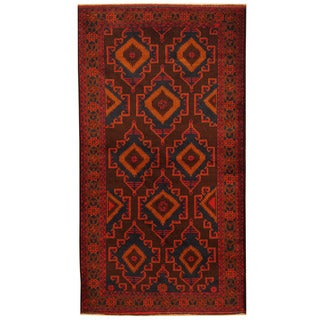 Herat Oriental Afghan Hand-knotted 1980s Semi-antique Tribal Balouchi Wool Rug (3'7 x 6'8)