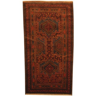 Herat Oriental Afghan Hand-knotted 1980s Semi-antique Tribal Balouchi Wool Rug (3'8 x 6'10)