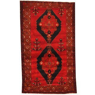 Herat Oriental Afghan Hand-knotted 1980s Semi-antique Tribal Balouchi Red/ Ivory Wool Rug (4' x 6'8)