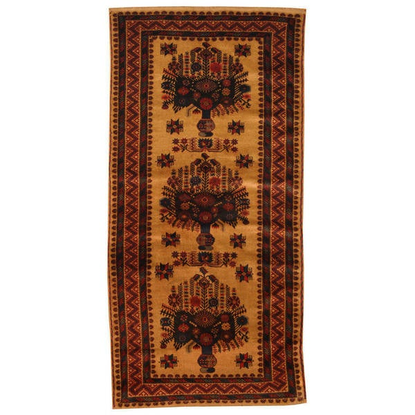 Herat Oriental Afghan Hand-knotted 1980s Semi-antique Tribal Balouchi Wool Rug (3'5 x 6'7)