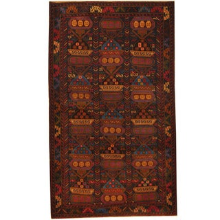 Herat Oriental Afghan Hand-knotted 1980s Semi-antique Tribal Balouchi Wool Rug (4' x 6'9)
