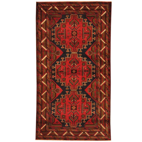 Herat Oriental Afghan Hand-knotted 1980s Semi-antique Tribal Balouchi Wool Rug (3'6 x 6'7)