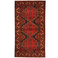 Herat Oriental Afghan Hand-knotted 1980s Semi-antique Tribal Balouchi Wool Rug (3'6 x 6'7) - 3'6 x 6'7
