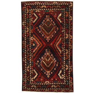 Herat Oriental Afghan Hand-knotted 1980s Semi-antique Tribal Balouchi Wool Rug (3'8 x 6'6)