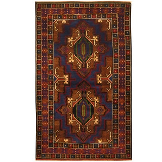 Herat Oriental Afghan Hand-knotted 1980s Semi-antique Tribal Balouchi Blue/ Brown Wool Rug (4' x 6'7)