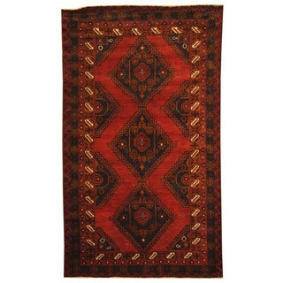 Herat Oriental Afghan Hand-knotted 1980s Semi-antique Tribal Balouchi Red/ Navy Wool Rug (4'1 x 7')