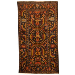 Herat Oriental Afghan Hand-knotted 1980s Semi-antique Tribal Balouchi Navy/ Gold Wool Rug (3'8 x 6'8)
