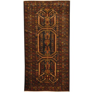 Herat Oriental Afghan Hand-knotted 1980s Semi-antique Tribal Balouchi Gray/ Ivory Wool Rug (3'6 x 7')