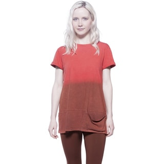 AtoZ Ombre Cotton Tunic Tee with Pockets