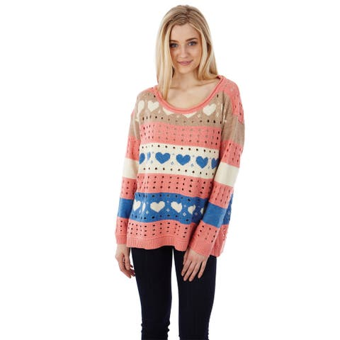 Dinamit Women's Multicolored Soft-knit Pointelle Sweater with Hearts