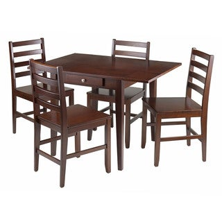 Winsome 5-piece Hamilton Drop-leaf Dining Table with 4 Ladder-back Chairs