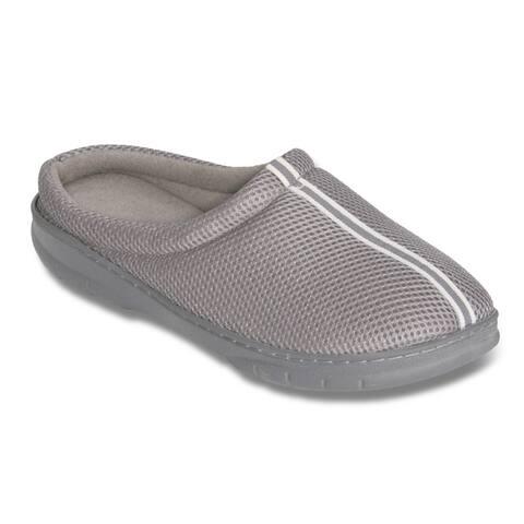 Mens Grey Mesh Memory Foam Slippers