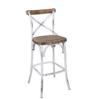 Zaire 96642 Walnut-colored Antique White Steel and Wood Bar Chair