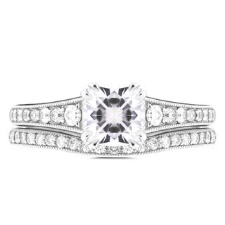 Annello by Kobelli 14k White Gold 1 1/10ct Cushion Moissanite and 2/5ct TDW Diamond Bridal Set