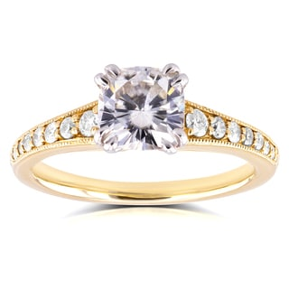 Annello 14k Yellow Gold 1 1/10ct Cushion Moissanite and 1/4ct TDW Diamond Engagement Ring (H-I, I1-I2)