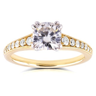 Annello by Kobelli 14k Yellow Gold 1 1/10ct Cushion Moissanite and 1/4ct TDW Diamond Engagement Ring
